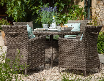 Image of Hartman Bali Weave 4 Seater Dining Furniture Set