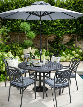 Image of Hartman Berkeley 6 Seat Round Dining Set in Antique Grey / Platinum