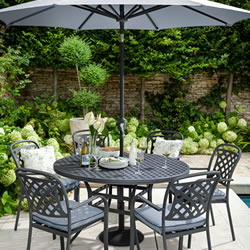 Small Image of Hartman Berkeley 6 Seat Round Dining Set in Antique Grey / Platinum