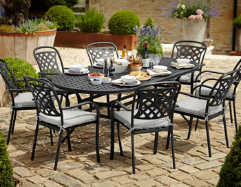 Image of Hartman Berkeley Oval 6 Seater Furniture Set - Midnight/Shadow - NO PARASOL