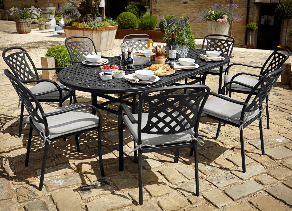 Berkeley Cast Aluminium Oval 8 Seater Garden Dining Set