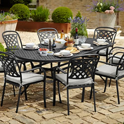 Small Image of Hartman Berkeley Oval 6 Seater Furniture Set - Midnight/Shadow - NO PARASOL