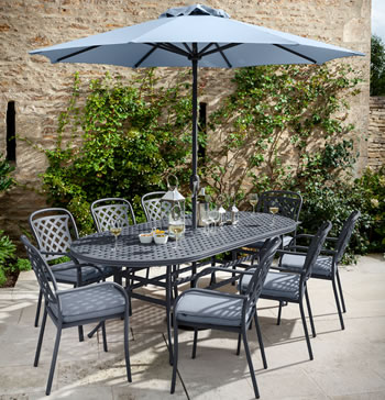 Image of 2019 Hartman Berkeley 8 Seat Oval Dining Set in Antique Grey / Platinum