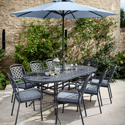 Small Image of 2019 Hartman Berkeley 8 Seat Oval Dining Set in Antique Grey / Platinum