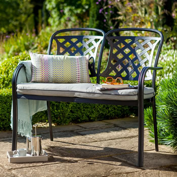 Image of 2018 Hartman Berkeley Cast Aluminium Garden Bench, Midnight/ Shadow