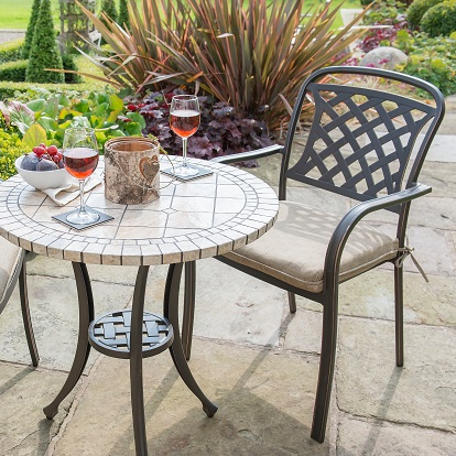 Image of Hartman Berkeley Ceramic 2 Seater Bistro Set - Bronze/Dune