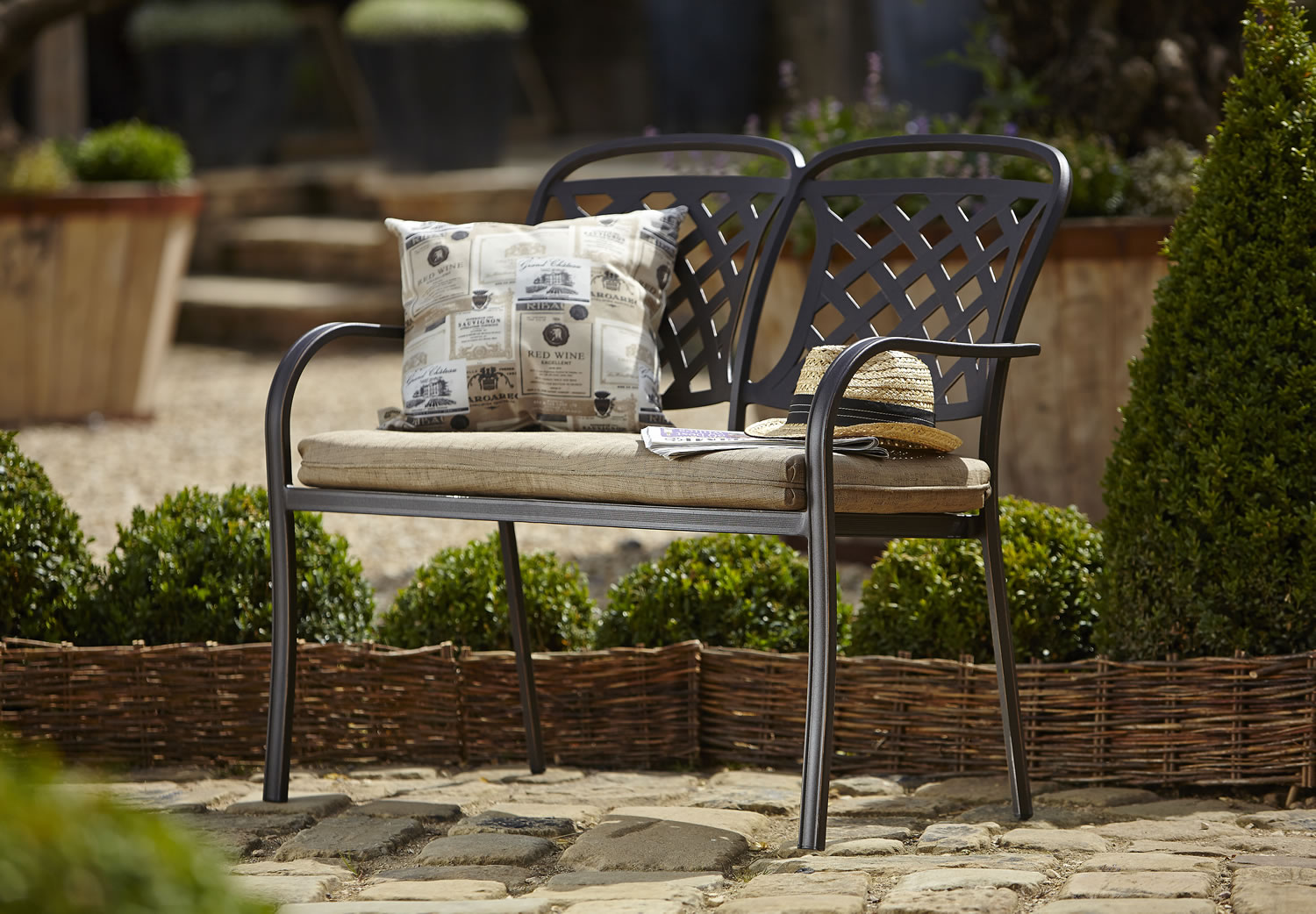 Small Image Of 2018 Hartman Berkeley Bronze Garden Bench With Dune Cushion