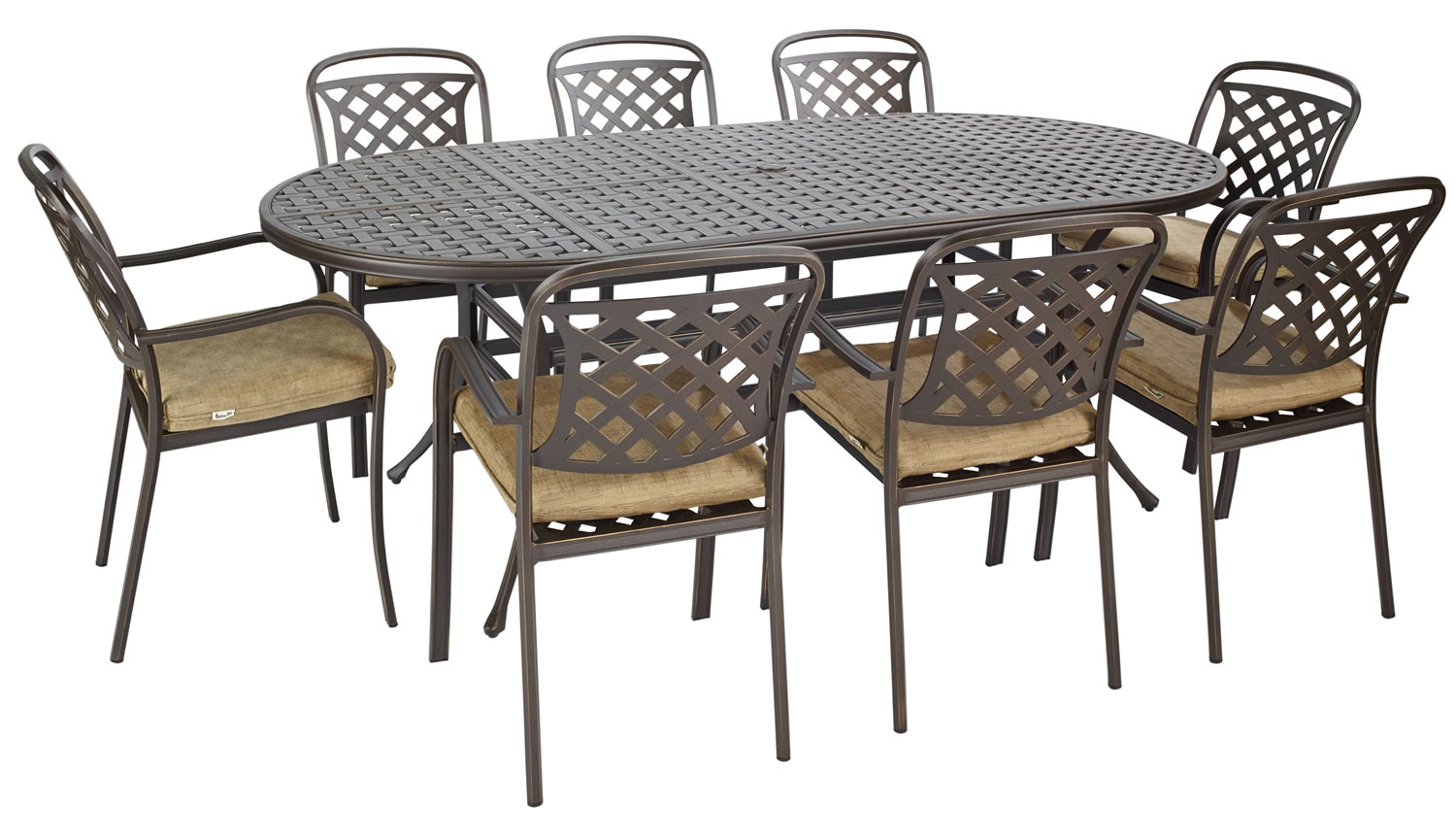 Berkeley Cast Aluminium Oval 8 Seater Garden Dining Set