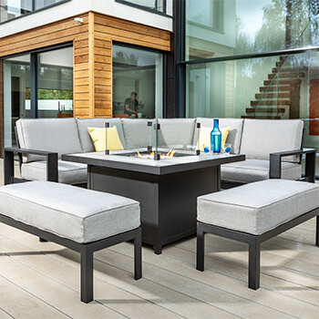 Image of Hartman Atlas Square Corner Sofa Set with Fire Pit in Carbon/Pewter