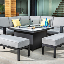 Small Image of Hartman Atlas Square Corner Sofa Set with Fire Pit in Carbon/Pewter