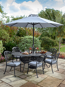 Image of Hartman Amalfi 6 Seater Oval Dining Set in Antique Grey / Platinum