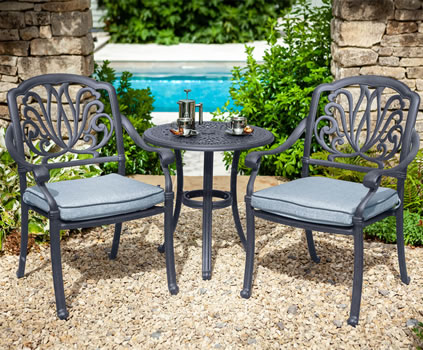Image of Hartman Amalfi Bistro Set in Antique Grey / Platinum