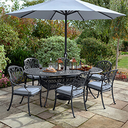 Small Image of Hartman Amalfi 6 Seater Oval Dining Set in Antique Grey / Platinum