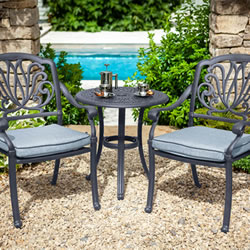 Small Image of Hartman Amalfi Bistro Set in Antique Grey / Platinum