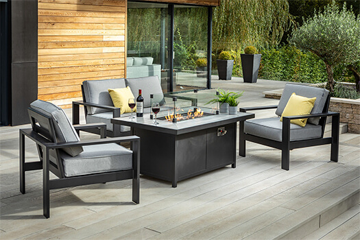 Image of Hartman Atlas 2 Seater Sofa Lounge Set with Gas Fire Pit Table, Carbon