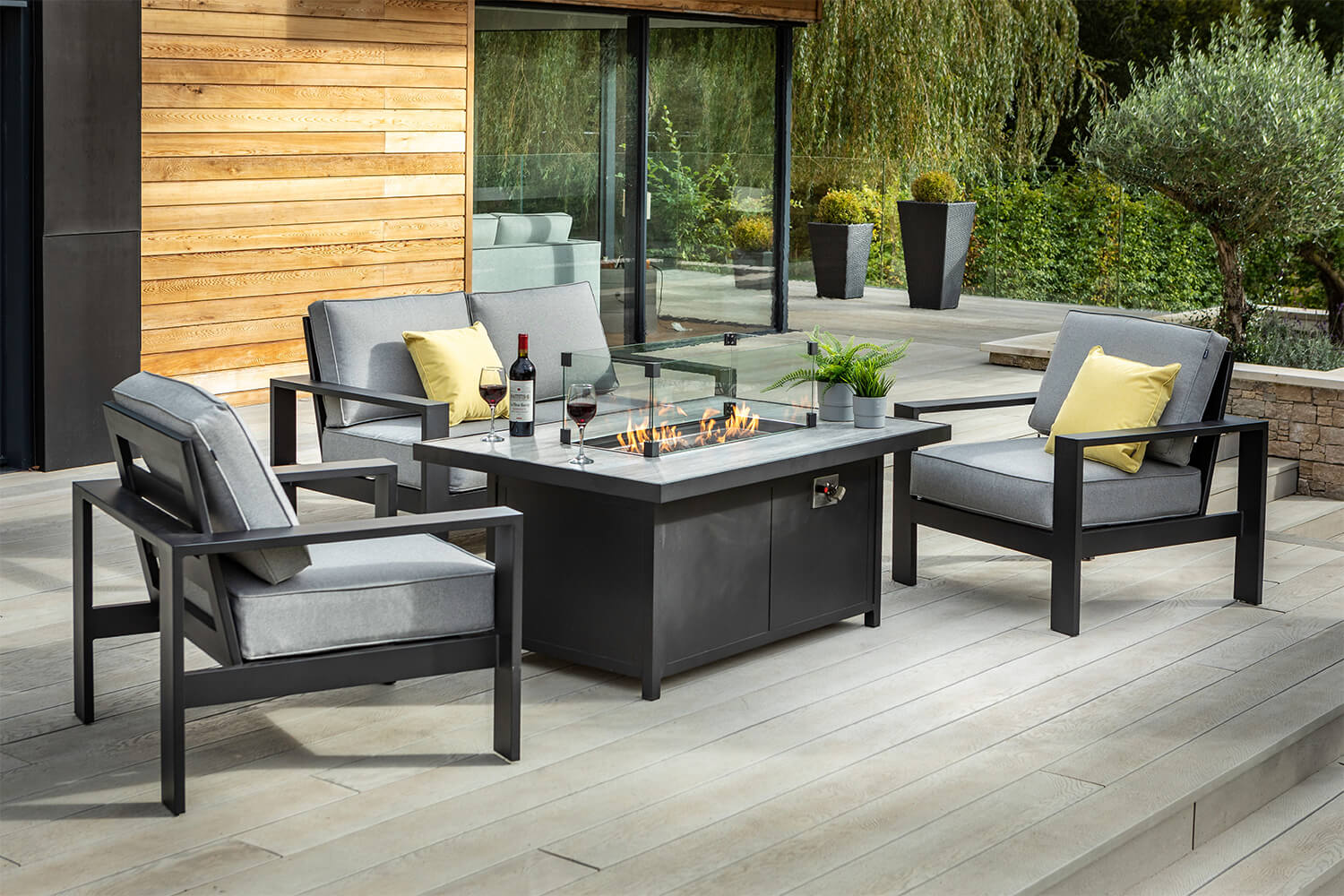 Image of: Hartman Atlas 2 Seater Sofa Lounge Set With Gas Fire Pit Table Carbon 2023 99 Garden4less Uk Shop