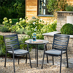 Small Image of Hartman Aurora Bistro Set in Carbon / Pewter