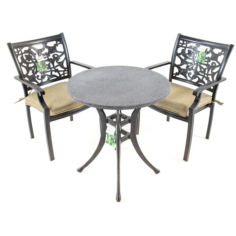 Cheap Garden Bistro Sets Uk Uk Gardens Ornate Grey Metal 3 Piece