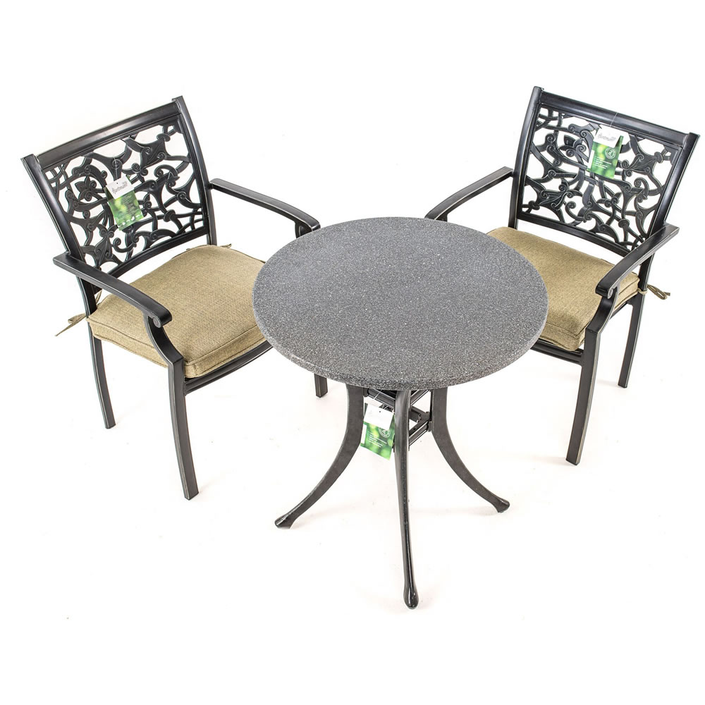 Celtic Cast Aluminium Garden Bistro Set With Spraystone