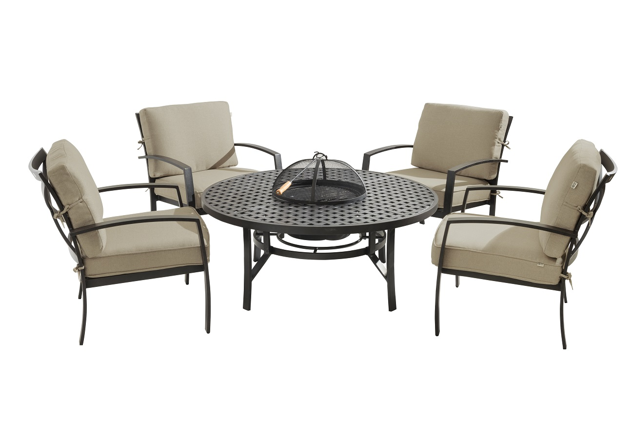 2017 Jamie Oliver Contemporary 4 Seater Fire Pit Set