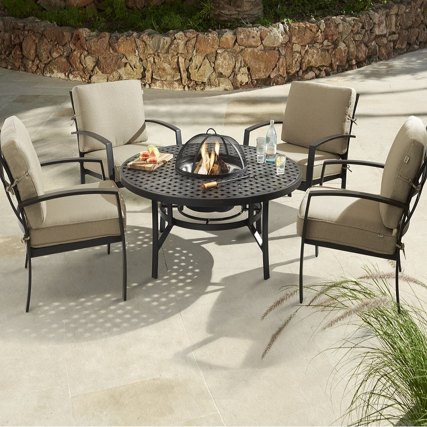 Image of Jamie Oliver Contemporary 4 Seater Fire Pit Set   Bronze Biscuit. Jamie Oliver Garden Furniture Sale UK