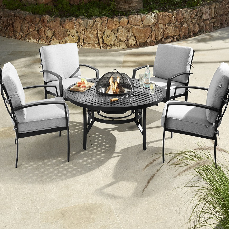 Image of Jamie Oliver Contemporary 4 Seater Fire Pit Set - Riven/Pewter