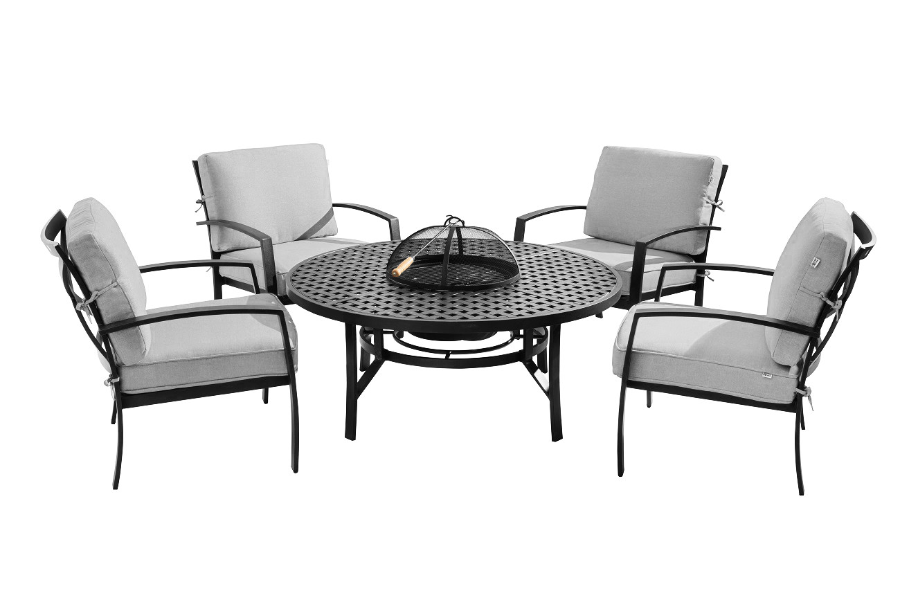Extra image of 2018 - Jamie Oliver Contemporary 4 Seater Fire Pit Set - Riven/Pewter
