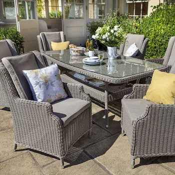 Image of 2018 - Hartford Fibreline 6 Seater Set NO PARASOL in Driftwood / Cashew