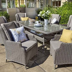 Small Image of 2018 - Hartford Fibreline 6 Seater Set NO PARASOL in Driftwood / Cashew