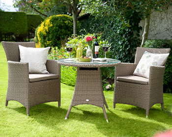 Image of Madison Weave Bistro Furniture Set by Hartman Sepia/Henna
