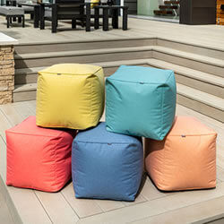 Extra image of Hartman Red Coral 45cm Cube Weatherproof Pouffe
