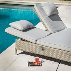 Extra image of Hartman Heritage Double Lounger With Cushion in Beech / Dove