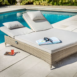 Small Image of Hartman Heritage Double Lounger With Cushion in Beech / Dove