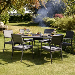Small Image of Jamie Oliver Caraway Firepit Dining Set