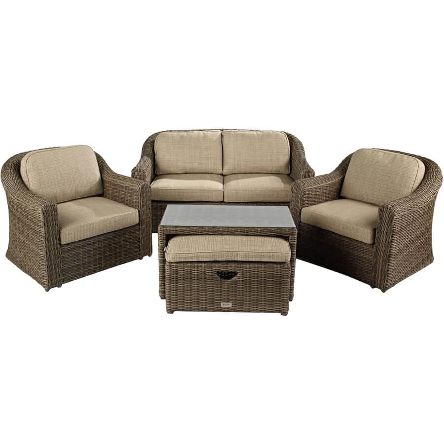 Hartman Bali Lounge Sofa Furniture Set In Chestnut Tweed