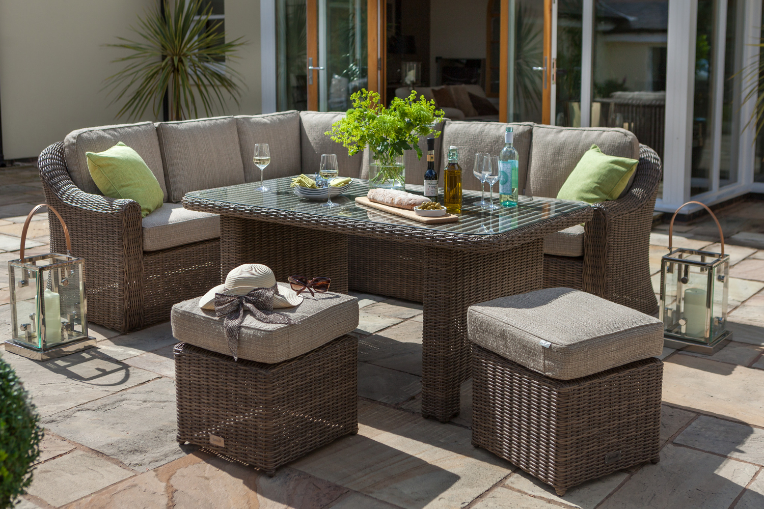 Small image of hartman bali casual dining furniture set in chestnut tweed