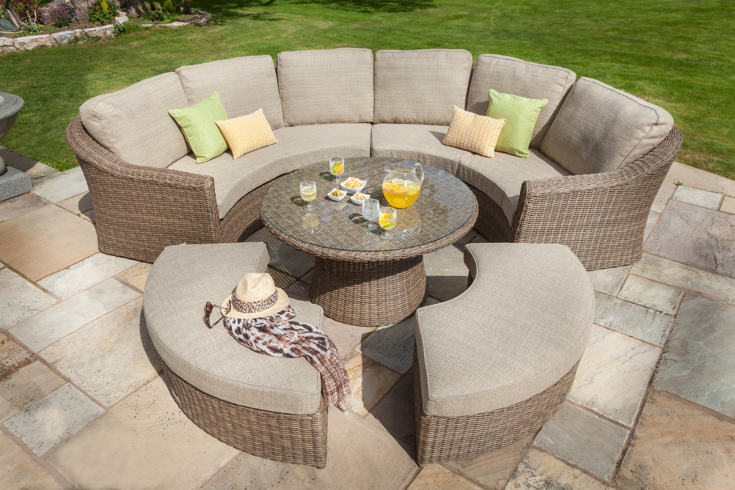 Extra image of hartman bali curved lounge weave furniture set in chestnut tweed