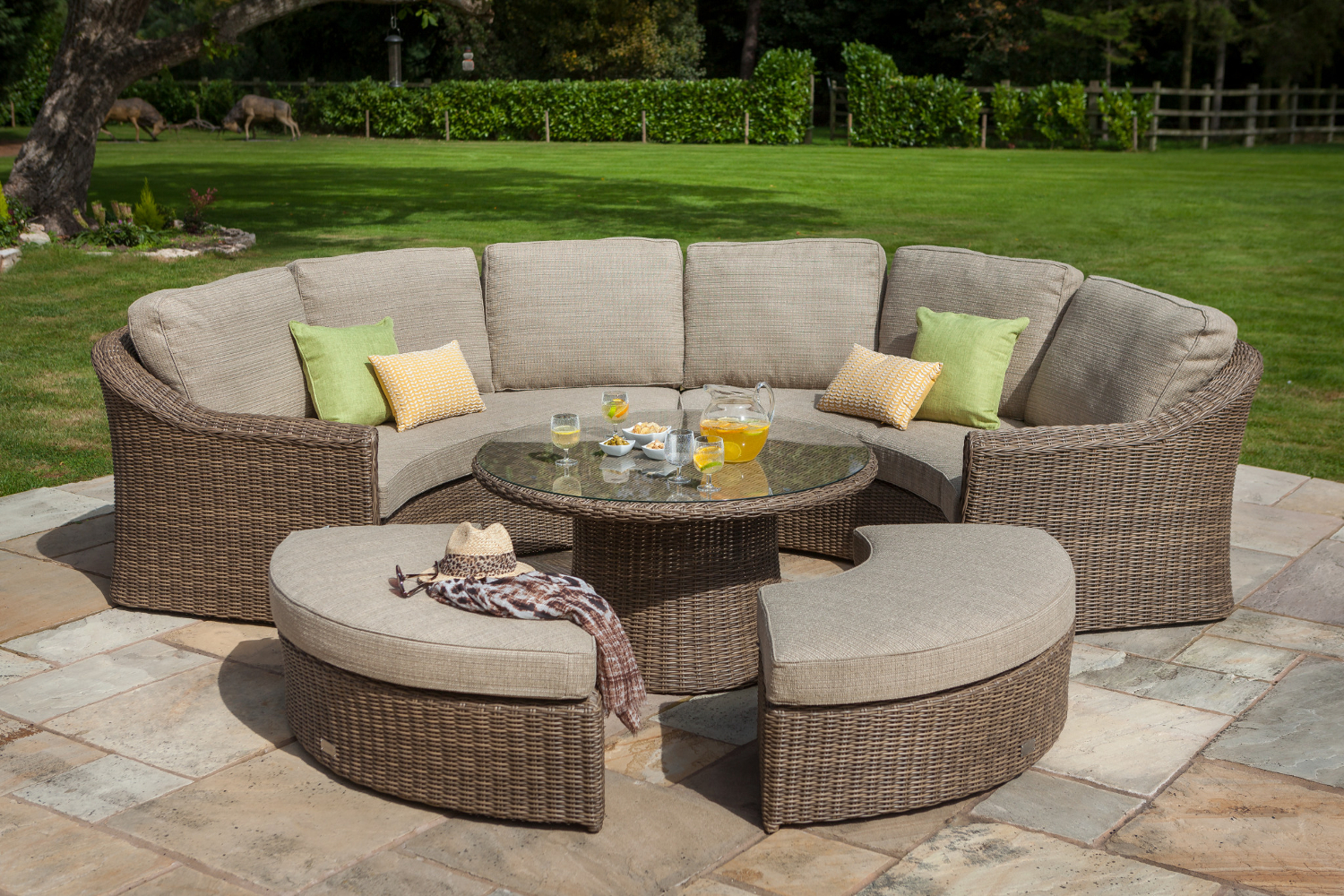 Small image of hartman bali curved lounge weave furniture set in chestnut tweed