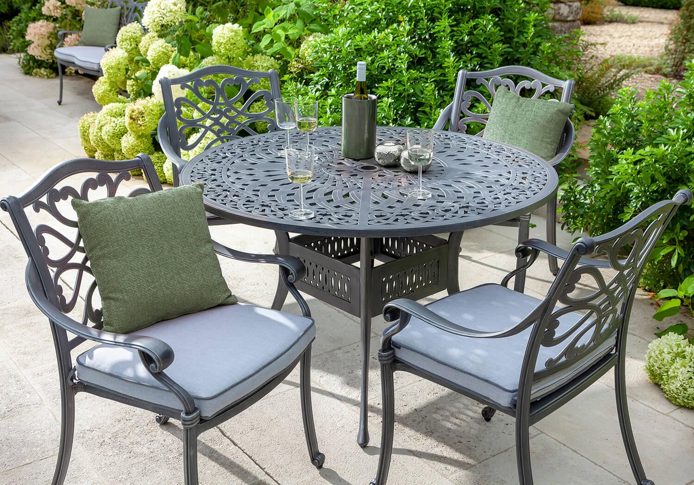 Hartman Capri 4 Seat Round Dining Set In Antique Grey No
