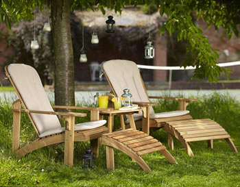 Image of Hampton 2 seater FSC Acacia Deck Chair and Coffee Table Set