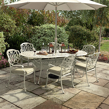 Image of Hartman Amalfi 6 Seat Oval Dining Set in Maize / Wheatgrass - NO PARASOL