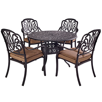 Image of Hartman Amalfi Comfort 4 Seater Round Dining Set in Bronze / Amber
