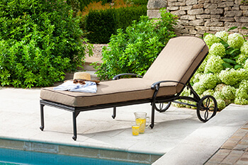 Image of Hartman Amalfi Lounger With Cushion in Bronze / Amber