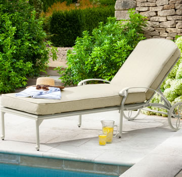 Image of Hartman Amalfi Lounger With Cushion in Maize / Wheatgrass
