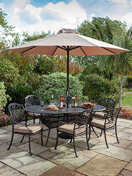 Image of 2019 Hartman Amalfi 6 Seat Oval Dining Set in Bronze/Amber