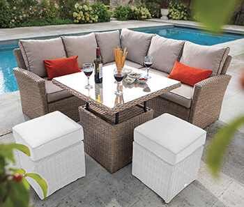 Image of Hartman Appleton Square Casual Dining Adjustable Table Set + Cover - Bark / Sand