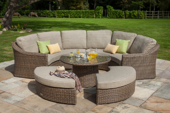 Image of Hartman Bali Curved Lounge Weave Furniture Set in Chestnut / Tweed
