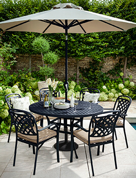 Image of Hartman Berkeley 6 Seat Round Dining Set in Bronze / Amber - NO PARASOL