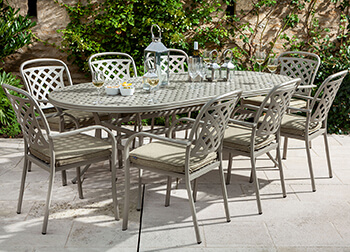 Image of Hartman Berkeley 8 Seat Oval Dining Set in Maize / Wheatgrass - NO PARASOL