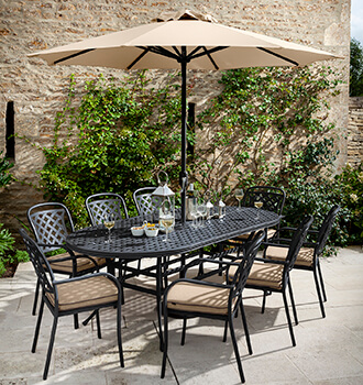 Image of Hartman Berkeley 8 Seat Oval Dining Set in Bronze / Amber - NO PARASOL